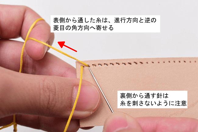 菱目の角方向に寄せ、裏側から同じ穴に針を通す