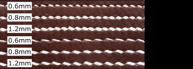 菱目打ちのピッチと縫い糸の太さの関係
