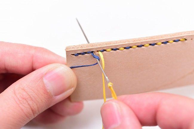 黄針に青糸を一回巻き付ける
