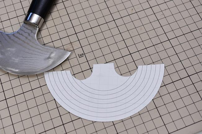 ラウンドナイフに合わせて作った型紙